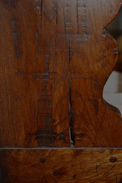 Character grade oak on dresser rack
