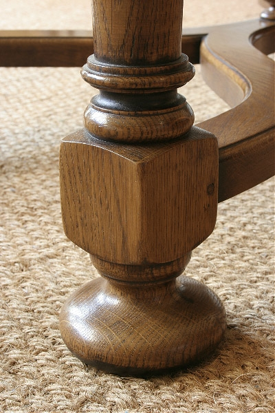 Detail from 18th century style oak coffee table