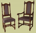 Upholstered back and stuff-over seat oak dining chairs