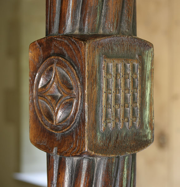 Oak four poster bed footpost carving