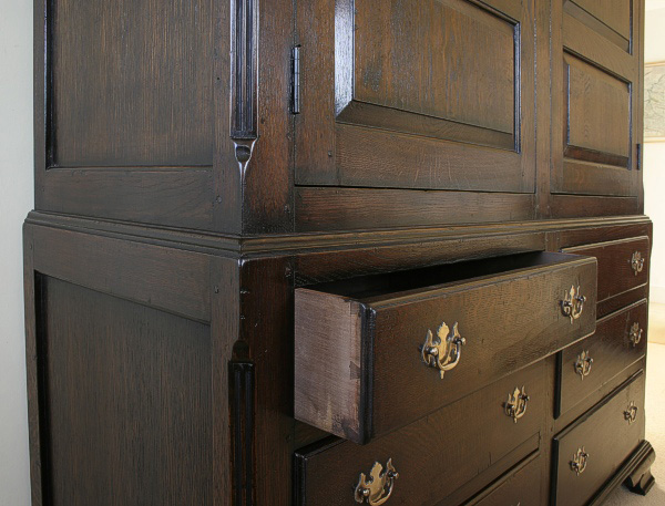 Hand Cut Dovetailed Drawers On C18th Style Linen Press
