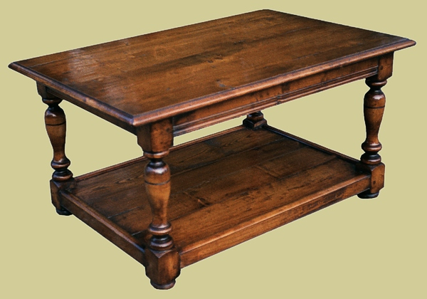 A Fairly Plain And Simple Fruitwood Coffee Table With Potboard