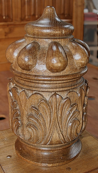 Hand carved oak bed post finial