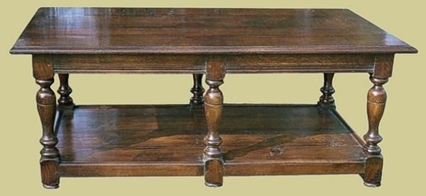 Oak 6-Leg Coffee Table With Potboard