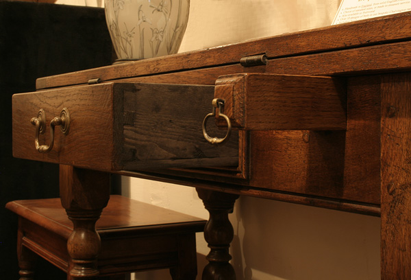 Hand cut dovetails on oak folding table