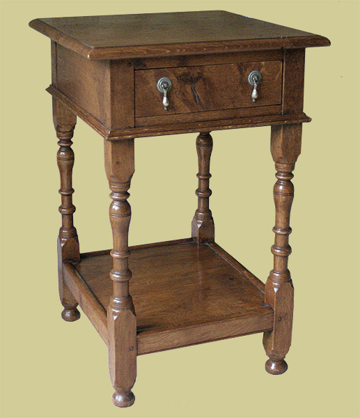 Oak bedside cabinet with potboard and drawer