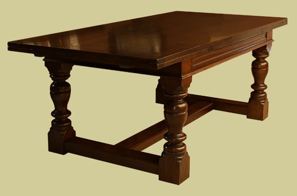 James 1st style oak extending dining table