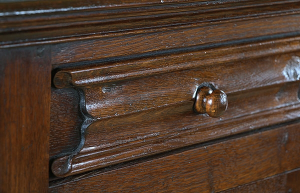 Linenfold oak drawer front detail