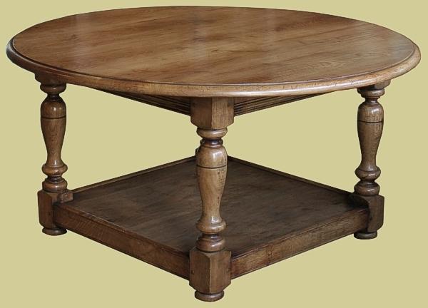 Oak Circular Top Potboard Coffee Table