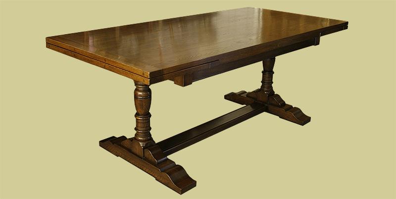 Oak drawer leaf pedestal dining table (closed