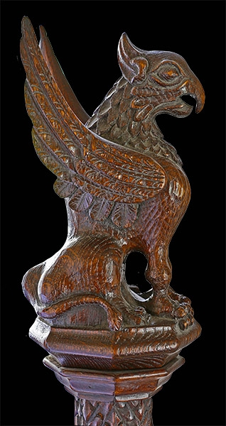 16th Century style hand carved oak griffin