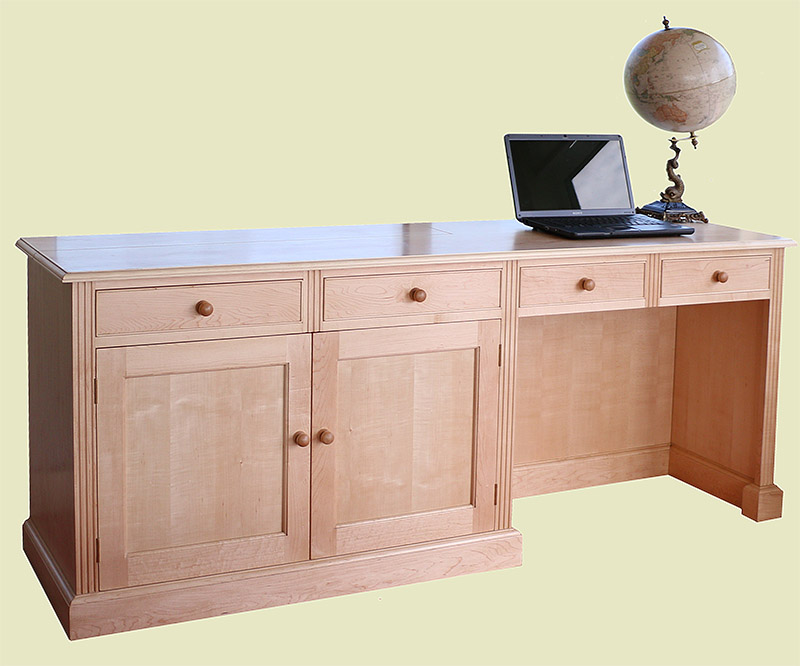 Bespoke maple desk and TV cabinet