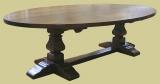 Large oval oak pedestal dining table