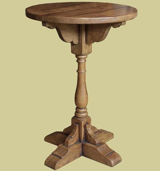 Oak Round Top Pedestal Lamp Table