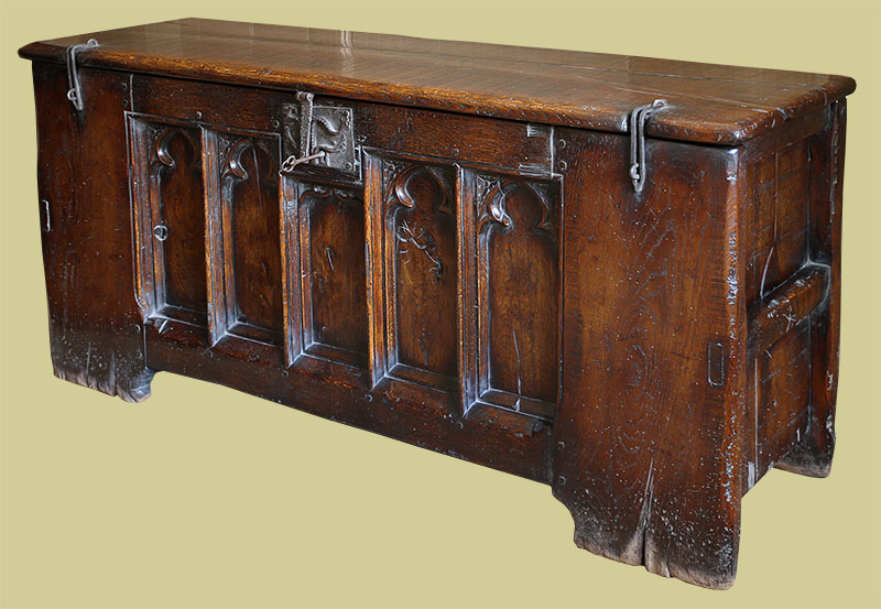 14th century style clamped front chest in oak