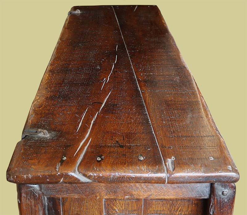 View of the oak lid of the 14th century style clamped front chest