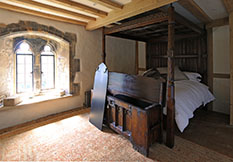 14th century clamped front chest with manor house window shutter unloaded