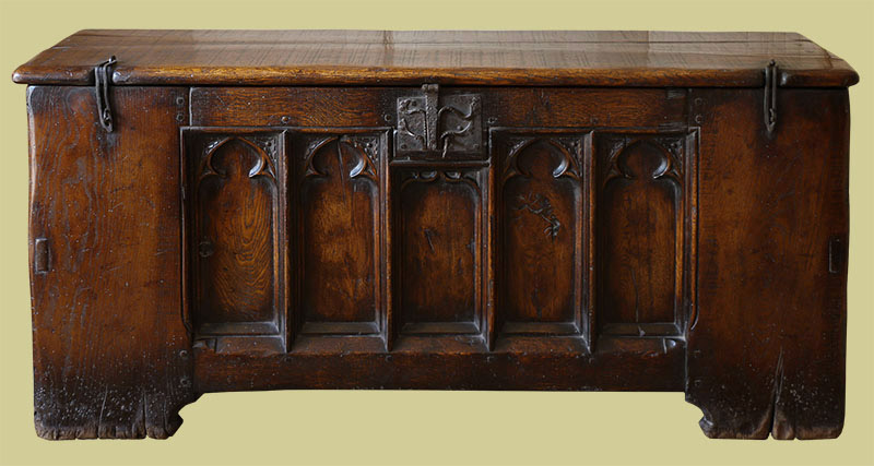 14th century style oak clamped-front chest