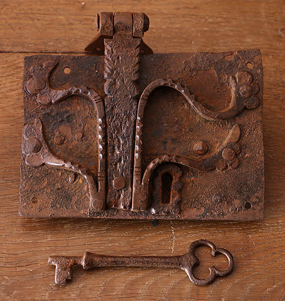 Medieval style lockplate and key, for oak replica clamped front chest.