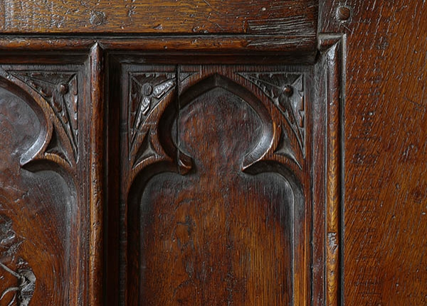Oak clamped front chest carved tracery detail