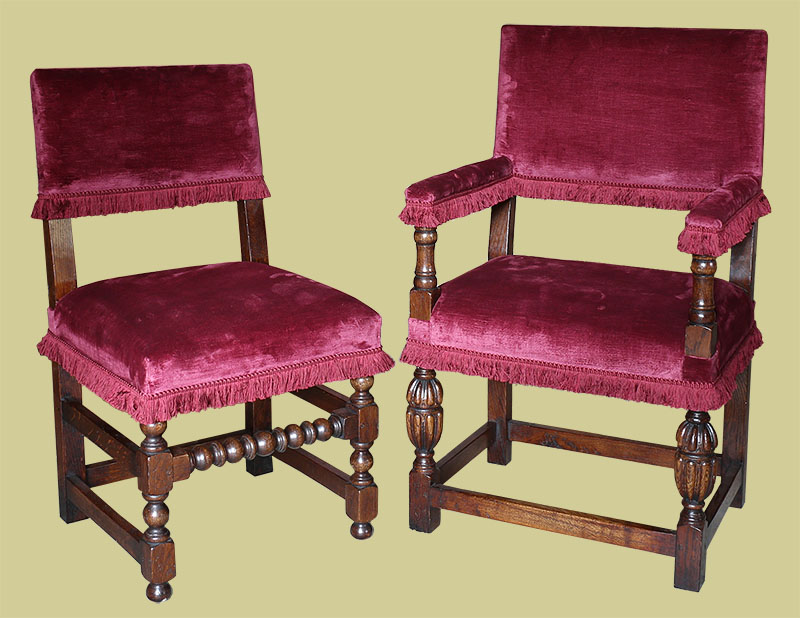 17th century style upholstered oak dining chairs of Farthingale type
