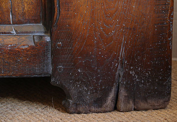 Ageing detail on Medieval style oak chest.
