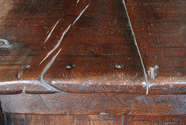Top detail of 15th century style oak chest