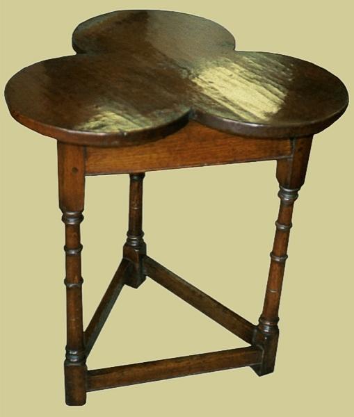 Oak Trefoil Shaped Top Lamp Table