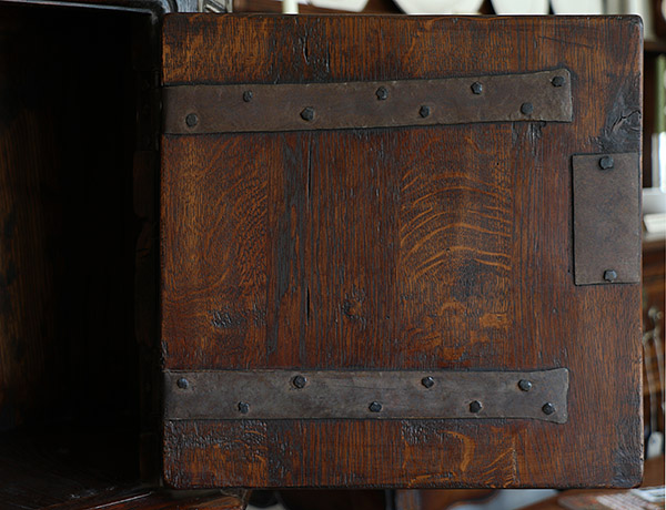 Hand forged hinges on16th century style oak cupboard