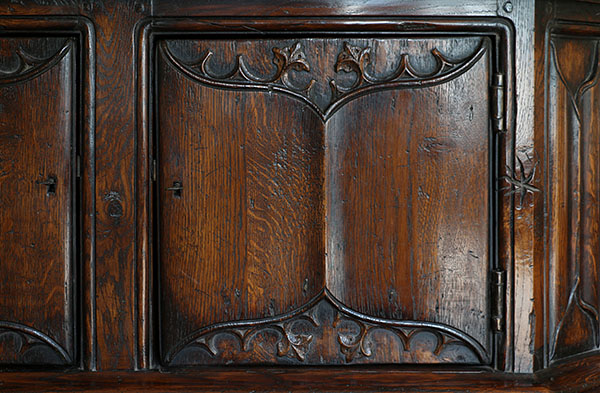 Hand Carved Parchemin Panel Doors On Oak Livery Cupboard