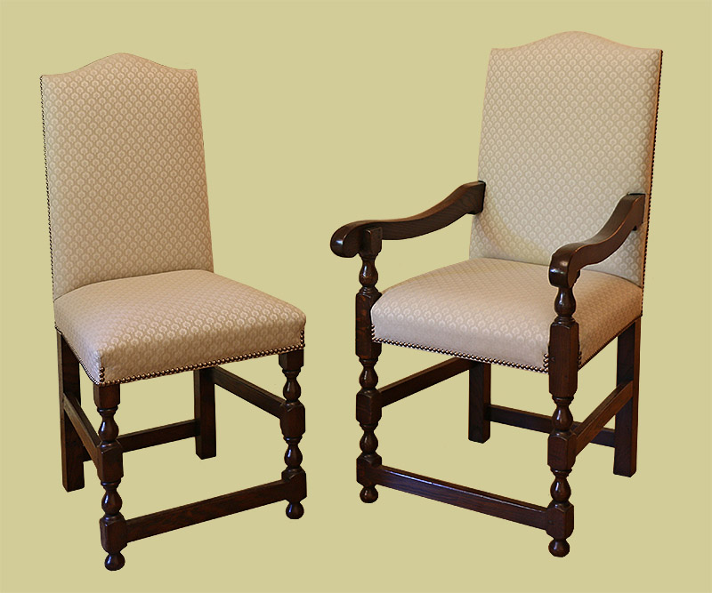 Oak upholstered dining chairs with special stretcher arrangement to fit period dining table
