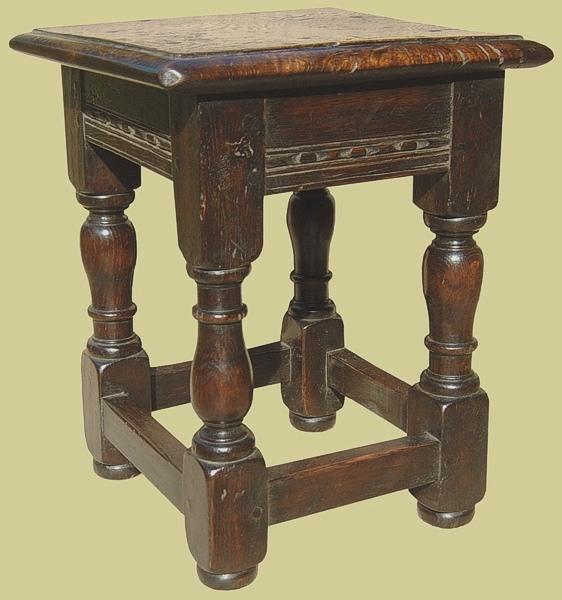 Carved oak childs stool