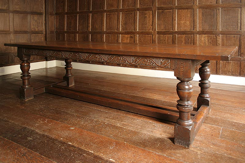 Carved oak period style refectory table