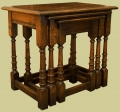 Oak nest of tables, handmade in period style.