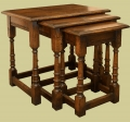 Handmade period style oak nest of tables.