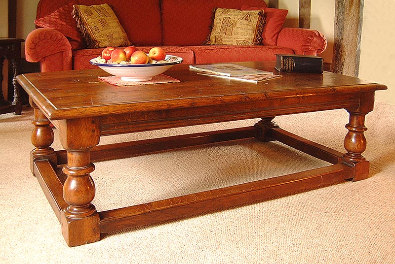 Traditional style oak coffee table with chunky classical baluster turned legs