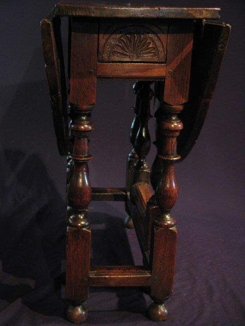 Small 17th century oak and walnut gateleg occasional table, from Period Oak
