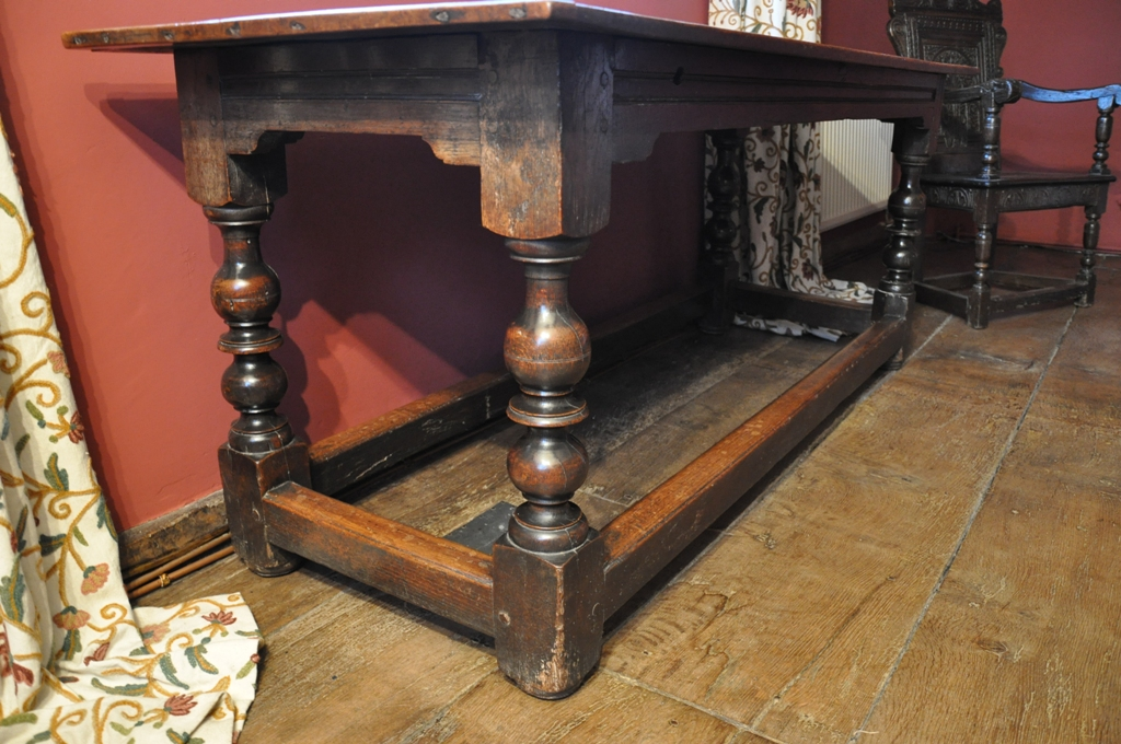 A Charles 2nd oak refectory table, circa 1680, with classical baluster turned legs