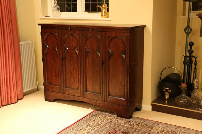 An unusual design challenge on our Medieval style oak TV cabinet.