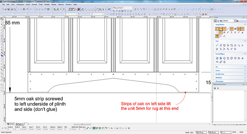 Oak strip detail on TV cabinet