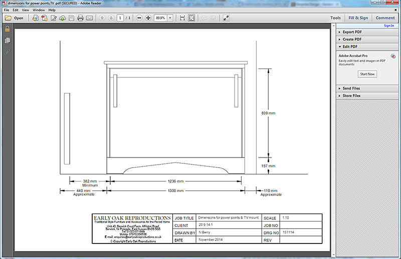 Dimensions for TV power points and wall bracket