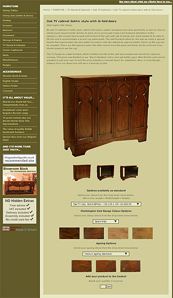 Oak Medieval style TV cabinet product page