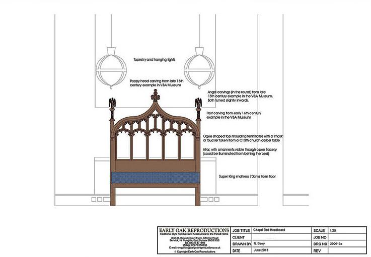 Ecclesiastical style oak bed head