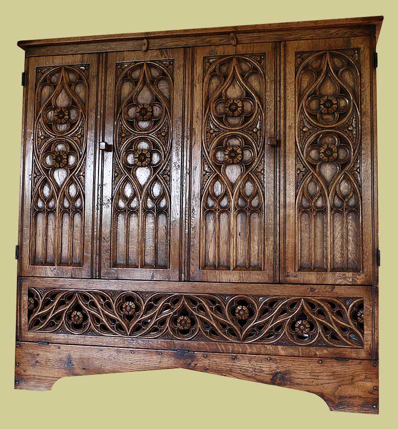 Hand Carved Oak Tracery Tv Cabinet In Flamboyant Style