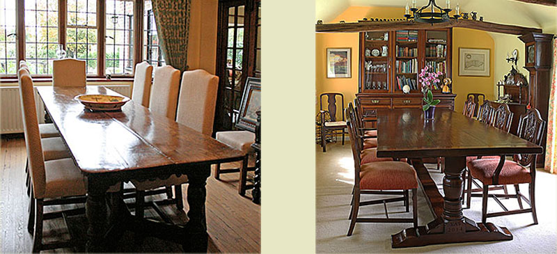 Bespoke upholstered chairs and oak table