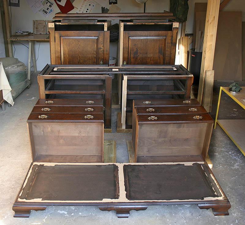 Oak linen press fully dismantled