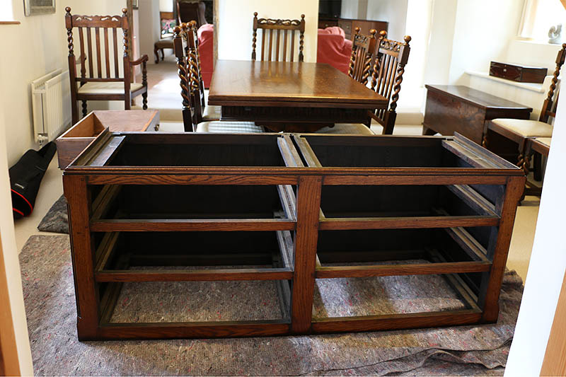 Base section of dismantle-able linen press, still to be split in half