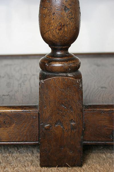Lower leg detail of Montgomeryshire oak potboard dresser.