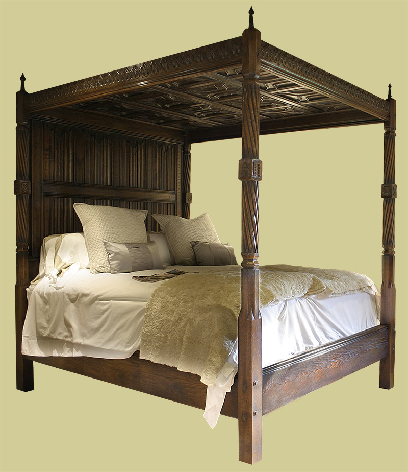 Early tudor style hand carved solid oak four poster bed for 4 bed