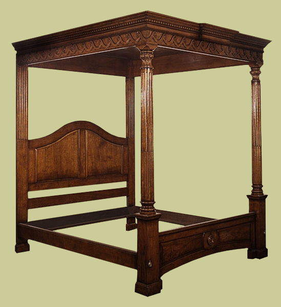 handmade solid oak carved bed 18th century georgian style. Black Bedroom Furniture Sets. Home Design Ideas